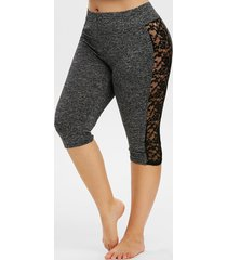 lace panel space dye knee length plus size leggings