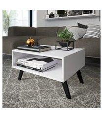 mesa de centro para sala ou escritório com nicho branca lilies móveis
