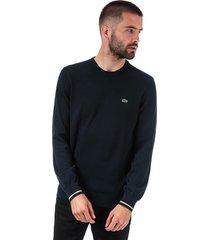 mens crew neck contrast accents cotton sweatshirt