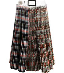 chopova lowena double-plaid pleated skirt - white