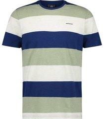 t-shirt state of art gestreept blauw groen