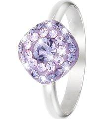 anello in argento 925 rodiato e cristalli lilla per donna