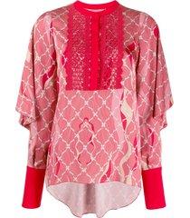 three floor romantique printed blouse - pink