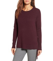 petite women's halogen side tie cashmere sweater, size large p - burgundy