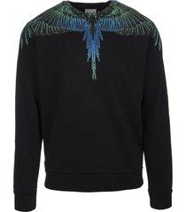 marcelo burlon man black and blue wings sweatshirt