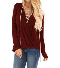 zanzea mujer de encaje casual hasta la camisa de la blusa pullover del club del partido más tapa del tamaño vino tinto -rojo