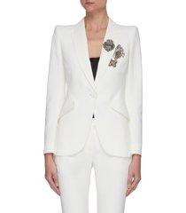 brooch embellished peak lapel blazer