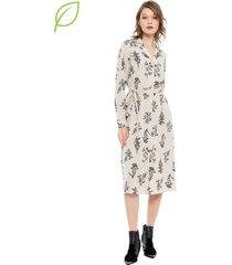 vestido vero moda iris beige - calce holgado