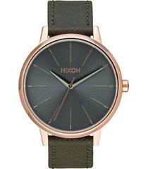 reloj kensington leather rose gold taupe nixon