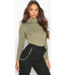 basic turtle neck long sleeve top, khaki