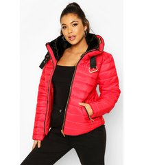 quilted puffer jacket, red