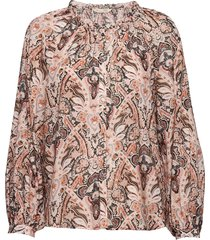 anna printed blouse blus långärmad rosa odd molly