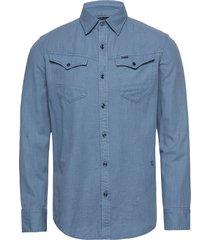 arc 3d slim shirt l\s skjorta casual blå g-star raw