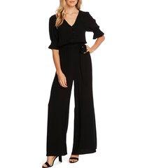 women's cece dot jacquard wide leg jumpsuit, size 0 - black