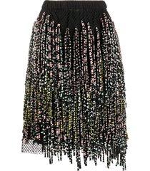 christian wijnants asymmetric fringed straight skirt - black