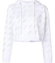 gcds crystal-logo cropped hoodie - white