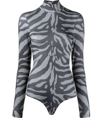 atu body couture zebra-print mock neck jersey bodysuit - grey