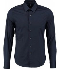 replay donkerblauw slim fit stretch overhemd valt kleiner