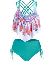 feather print strappy cinched tankini swimwear