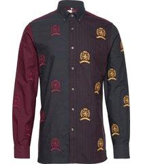hcm colour block crest shirt overhemd casual multi/patroon hilfiger collection