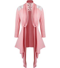 plus size lace panel twisted collarless asymmetrical cardigan
