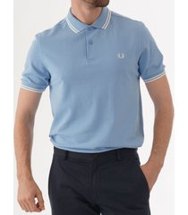 fred perry m3600 twin tipped polo shirt - sky & snow white m3600-h77