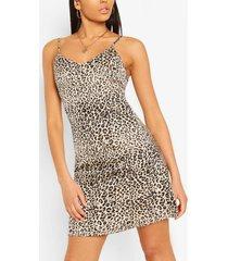 dierenprint swing jurk met bandjes, beige