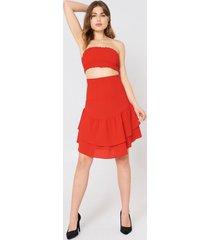 na-kd boho shirred part flounce skirt - red