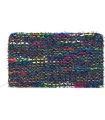 coohem knit tweed large wallet - blue