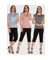kit 3 blusas regata muscle tee carbella regata modal confort com ombreira azul/rosa/cinza