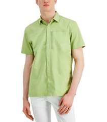 inc international concepts men's concealed placket zip-pocket short-sleeve shirt, created for macy's