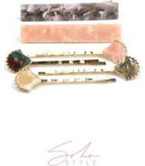 soho style marble acrylic hair clip mosaic seashell bobby pin, set of 6