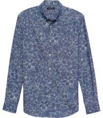 camisa slim chambray floral print azul banana republic