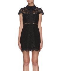 ellis' front zip cap sleeve lace mini dress