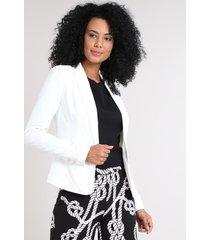 blazer feminino acinturado texturizado off white