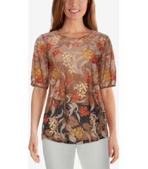 ruby rd. petite beaded tropical-print top