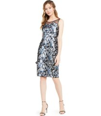 adrianna papell embroidered illusion-yoke sheath dress