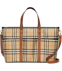 burberry parker archive check coated canvas diaper tote bag -