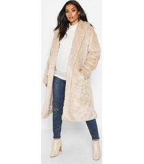 maternity faux fur wrap belted coat, cream