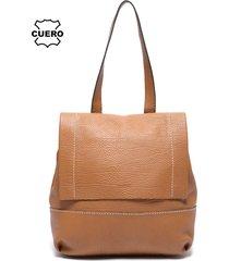 mochila cuero amanda marrón prune
