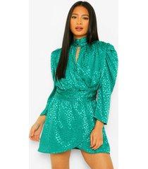 petite jacquard luipaardprint mini jurk met hoge kraag, teal