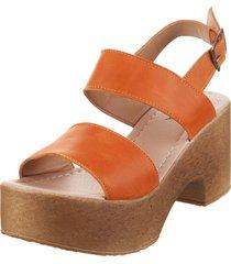 sandalia de cuero naranja foglia