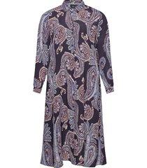dress print plus long sleeves collar kort klänning blå zizzi