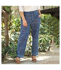 block-printed cotton pants, 'steps' (india)