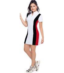 vestido corto para mujer multicolor negro/rojo/blanco mp
