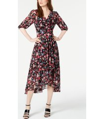 calvin klein petite long-sleeve high-low chiffon dress