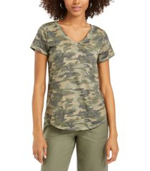 style & co washed camo-print t-shirt, created for macy's