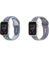 unisex atlantic blue and plum breathable silicone 2-pack replacement band for apple watch, 38mm