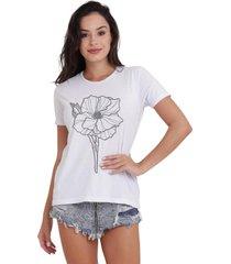 camiseta basica my t-shirt flower line branco