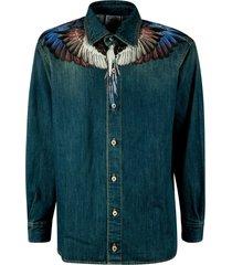 marcelo burlon wings mid wash ld denim shirt